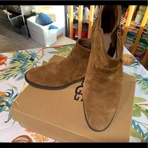 NWT UGG W Aureo Boots, Color Chestnut, Side Zipper